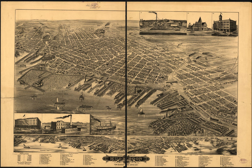 8 x 12 Reproduced Photo of Vintage Old Perspective Birds Eye View Map or Drawing of: Muskegon, Michigan 1889, from Muskegon Lake looking east. Glover, E. S. 1889