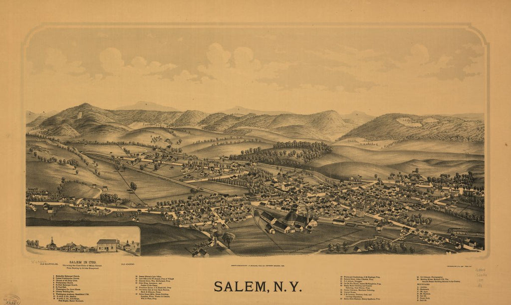 8 x 12 Reproduced Photo of Vintage Old Perspective Birds Eye View Map or Drawing of: Salem, N.Y. Burleigh, L. R. (Lucien R.) - Burleigh Litho - Burleigh, L. R. 1889
