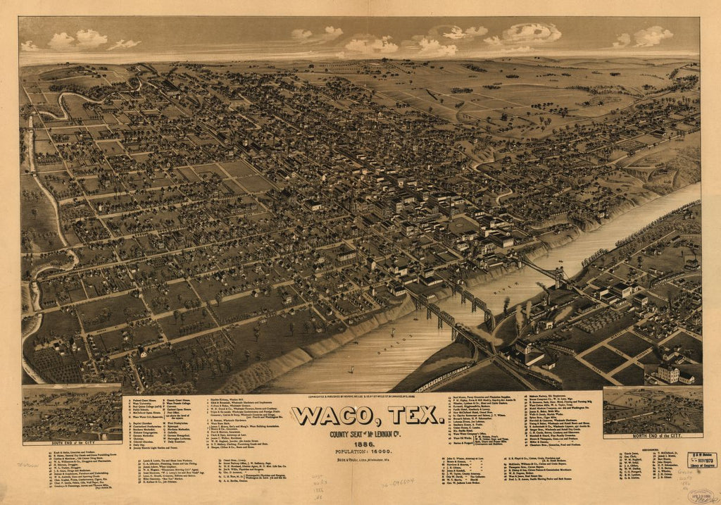 8 x 12 Reproduced Photo of Vintage Old Perspective Birds Eye View Map or Drawing of: Waco, Texas, county seat of McLennan Cy. 1886. Norris, Wellge & Co. 1886