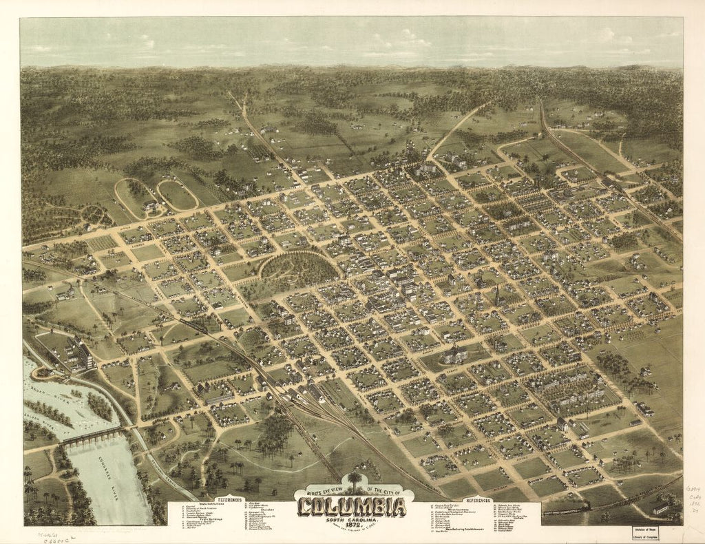 8 x 12 Reproduced Photo of Vintage Old Perspective Birds Eye View Map or Drawing of: Columbia, South Carolina 1872. Drie, C. N. 1872
