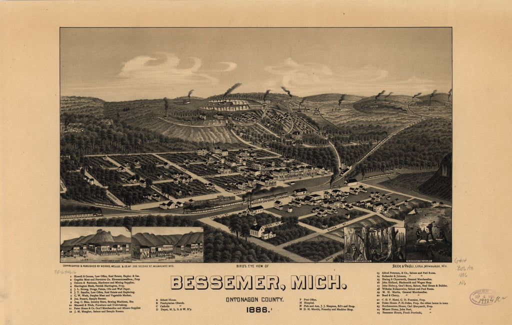 8 x 12 Reproduced Photo of Vintage Old Perspective Birds Eye View Map or Drawing of: Bessemer, Mich., Ontonagon County 1886. Norris, Wellge & Co. 1886