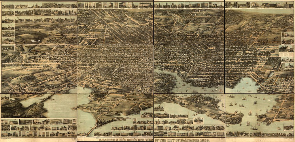 8 x 12 Reproduced Photo of Vintage Old Perspective Birds Eye View Map or Drawing of: E. Sachse, & Co.'s Baltimore, 1869.   E. Sachse & Co.  1870