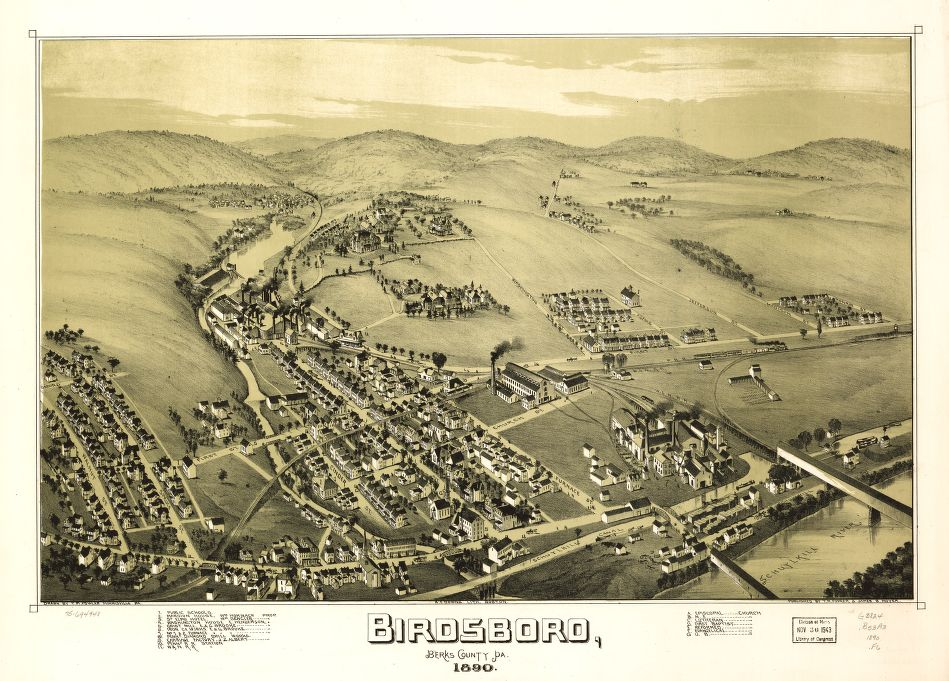 8 x 12 Reproduced Photo of Vintage Old Perspective Birds Eye View Map or Drawing of: Birdsboro, Berks County, Pa. 1890. Fowler, T. M. - Downs, A. E. (Albert E.) - Moyer, James - Fowler, T. M. 1890