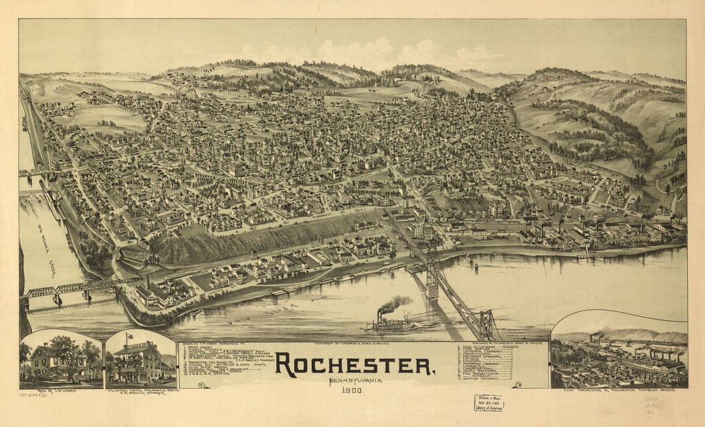 8 x 12 Reproduced Photo of Vintage Old Perspective Birds Eye View Map or Drawing of: Rochester, Pennsylvania 1900 Moyer, James B 1900