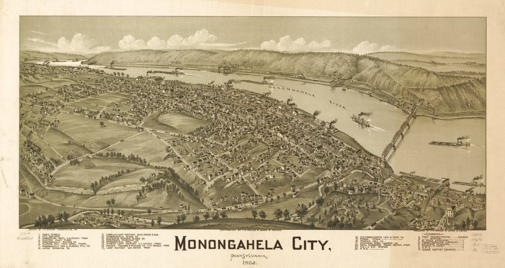 8 x 12 Reproduced Photo of Vintage Old Perspective Birds Eye View Map or Drawing of: Monongahela City, Pennsylvania, 1902. Fowler, T. M. - Moyer, James - Fowler, T. M. 1902