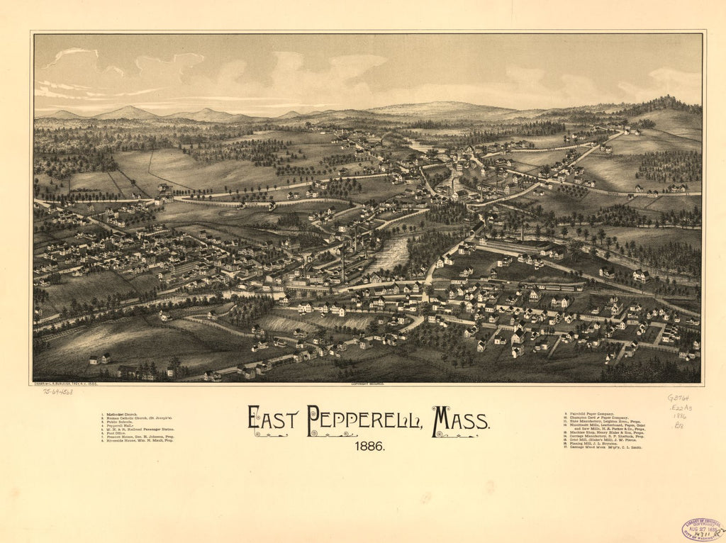 8 x 12 Reproduced Photo of Vintage Old Perspective Birds Eye View Map or Drawing of: East Pepperell, Mass. 1886.  Burleigh, L. R. (Lucien R.) - C.H. Vogt (Firm) - Burleigh, L. R.  1886