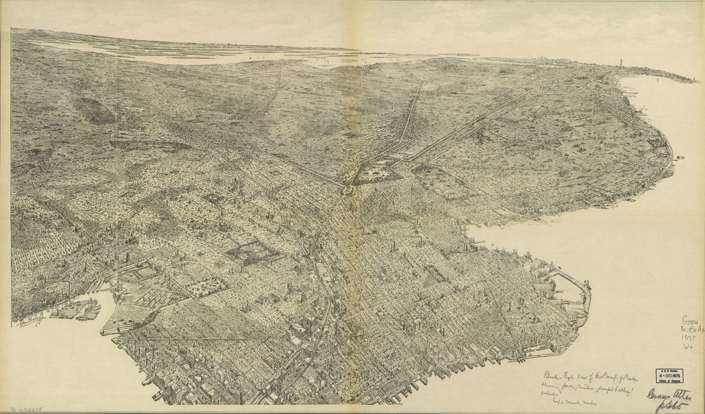 8 x 12 Reproduced Photo of Vintage Old Perspective Birds Eye View Map or Drawing of:  the borough of Brooklyn showing parks, cemeteries, principal buildings, suburbs. Welch, Geo 1897