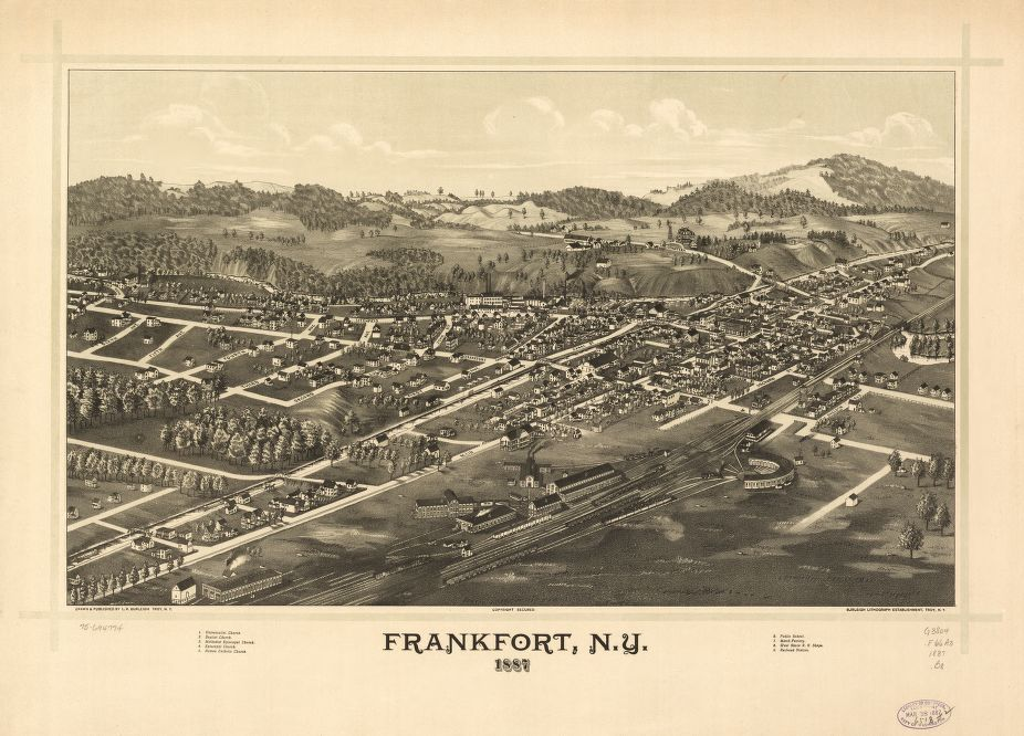 8 x 12 Reproduced Photo of Vintage Old Perspective Birds Eye View Map or Drawing of: Frankfort, N.Y. 1887. Burleigh, L. R. (Lucien R.) - Burleigh Litho - Burleigh, L. R. 1887