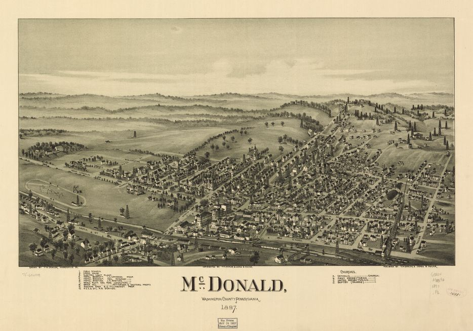 8 x 12 Reproduced Photo of Vintage Old Perspective Birds Eye View Map or Drawing of: McDonald, Washington County, Pennsylvania 1897. Fowler, T. M. - Moyer, James - Fowler, T. M. 1897