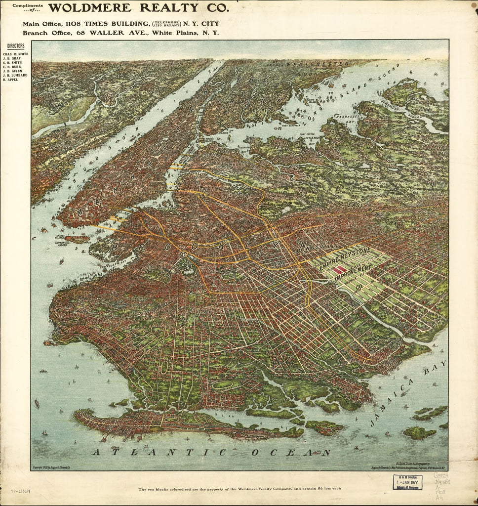 8 x 12 Reproduced Photo of Vintage Old Perspective Birds Eye View Map or Drawing of: [ Brooklyn] August R. Ohman & Co. 1908