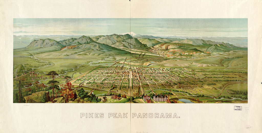 8 x 12 Reproduced Photo of Vintage Old Perspective Birds Eye View Map or Drawing of: Pikes Peak panorama. [Wellge, H. (Henry)] 1890