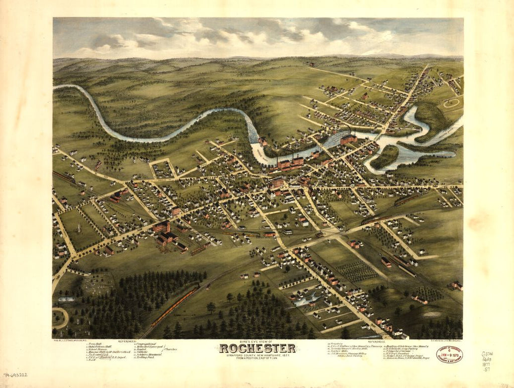 8 x 12 Reproduced Photo of Vintage Old Perspective Birds Eye View Map or Drawing of: Rochester, Strafford County, New Hampshire, 1877 : from a position, east of town   Stoner, J. J. - C.H. Vogt (Firm)  1877