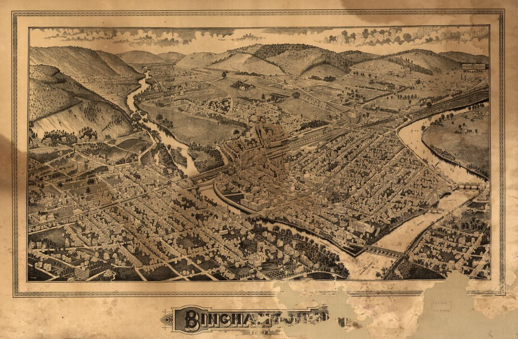 8 x 12 Reproduced Photo of Vintage Old Perspective Birds Eye View Map or Drawing of: Binghamton, NY Burleigh, L. R. (Lucien R.), 1853?-1923.Lyth, J. 1882