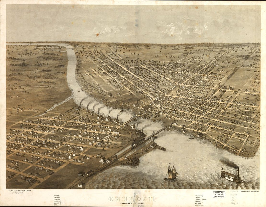 8 x 12 Reproduced Photo of Vintage Old Perspective Birds Eye View Map or Drawing of: Oshkosh, Winebago Co., Wisconsin 1867. Ruger, A. 1867