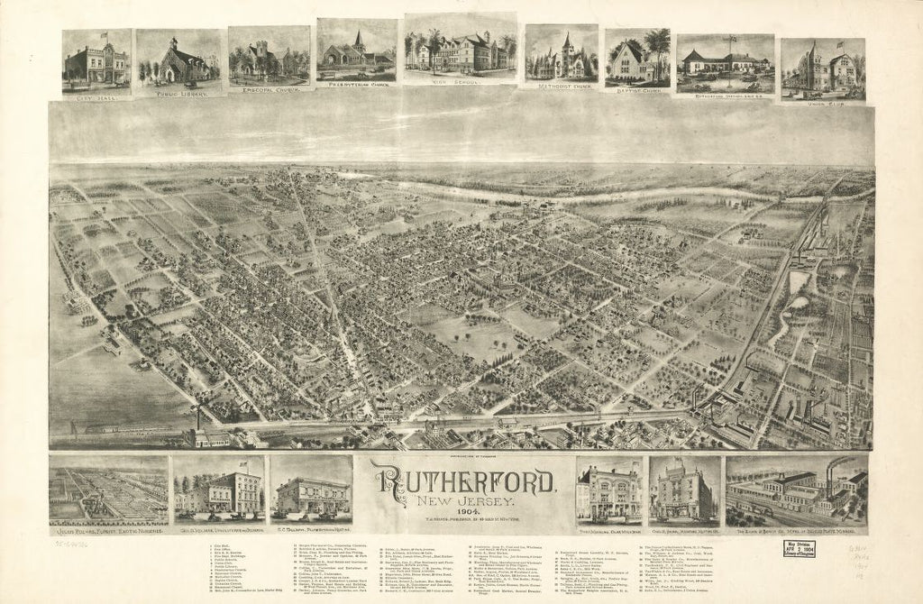 8 x 12 Reproduced Photo of Vintage Old Perspective Birds Eye View Map or Drawing of: Rutherford, New Jersey 1904. Hughes, T. J. 1904