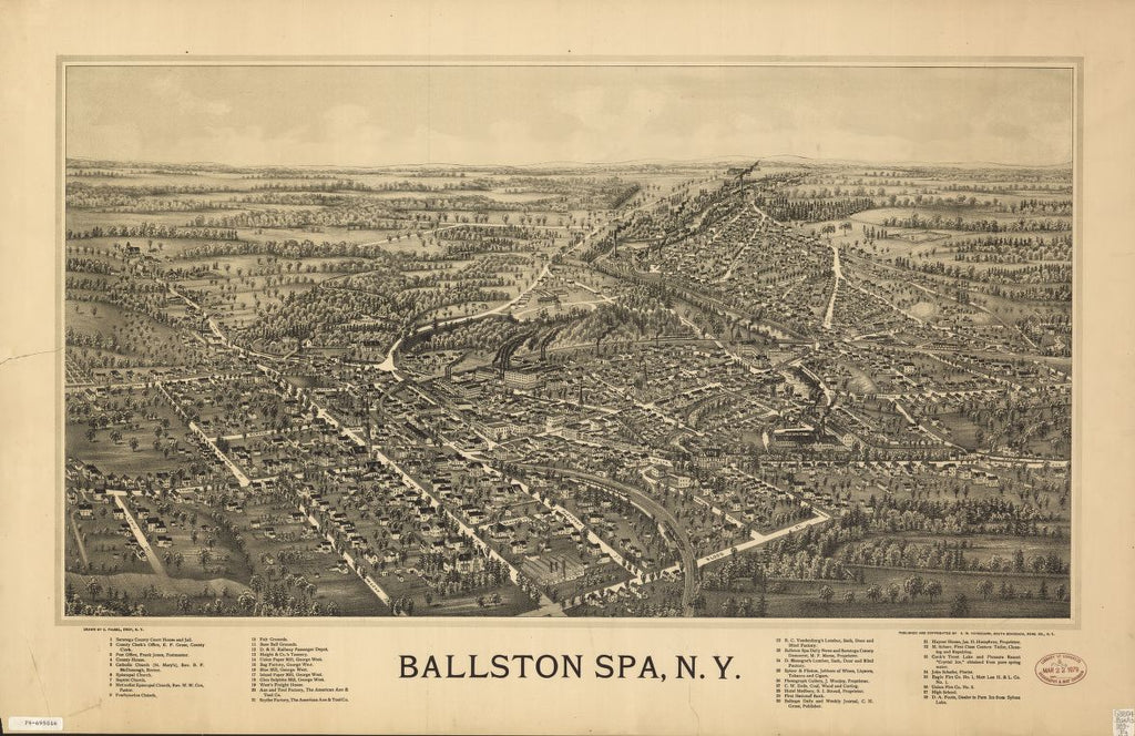 8 x 12 Reproduced Photo of Vintage Old Perspective Birds Eye View Map or Drawing of: Ballston Spa, N.Y.   Fausel, C. (Christian) - Vandecarr, A. M. - Fausel, C.  1890