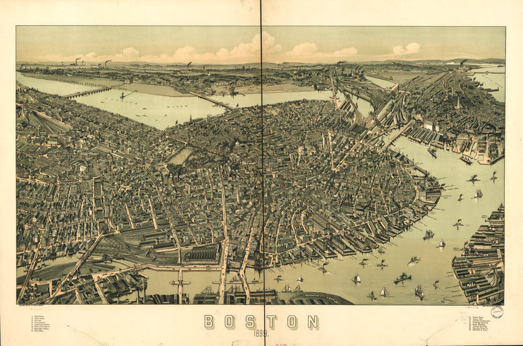8 x 12 Reproduced Photo of Vintage Old Perspective Birds Eye View Map or Drawing of: Boston 1899.  Downs, A. E. (Albert E.) - Geo. H. Walker & Co. - Downs, A. E.  1899