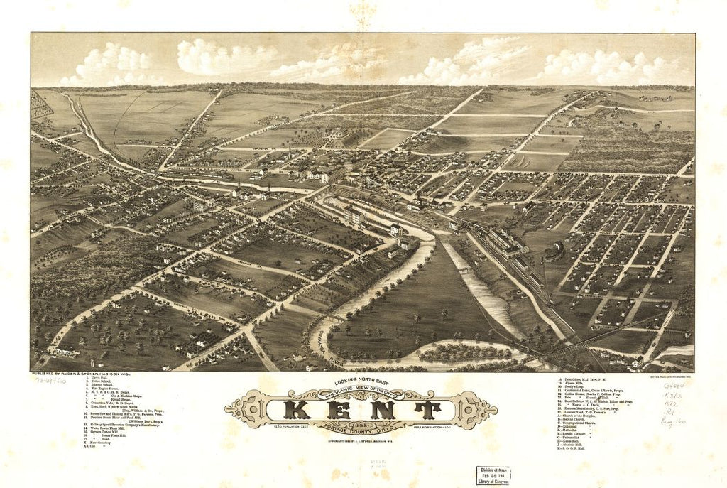 8 x 12 Reproduced Photo of Vintage Old Perspective Birds Eye View Map or Drawing of: Panoramic Kent, Portage County, Ohio 1882. Ruger, A. c1882
