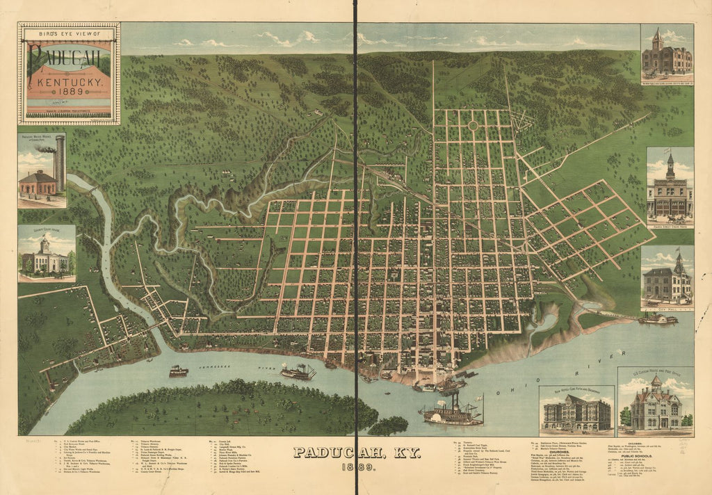 8 x 12 Reproduced Photo of Vintage Old Perspective Birds Eye View Map or Drawing of: Paducah, Kentucky 1889. Postlethwaite, J. Blanton.Krebs Lithographing Company, Cincinnati. 1889