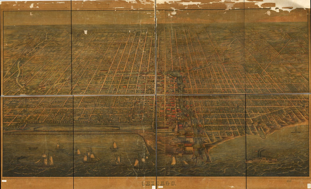 8 x 12 Reproduced Photo of Vintage Old Perspective Birds Eye View Map or Drawing of: Chicago Palmatary, J. T. (James T.) 1857