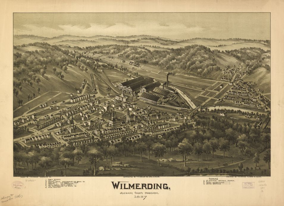 8 x 12 Reproduced Photo of Vintage Old Perspective Birds Eye View Map or Drawing of: Wilmerding, Allegheny County, Pennsylvania 1897.   Fowler, T. M. - Moyer, James - Fowler, T. M.  1897