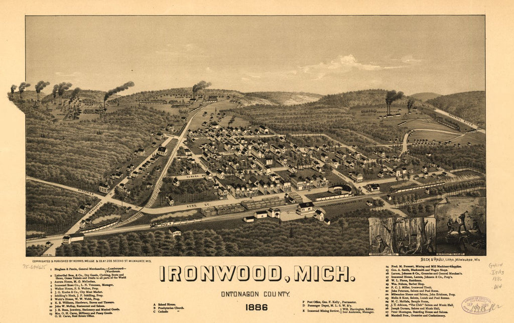 8 x 12 Reproduced Photo of Vintage Old Perspective Birds Eye View Map or Drawing of: Ironwood, Mich., Ontonagon County 1886. Wellge, H. (Henry) 1886