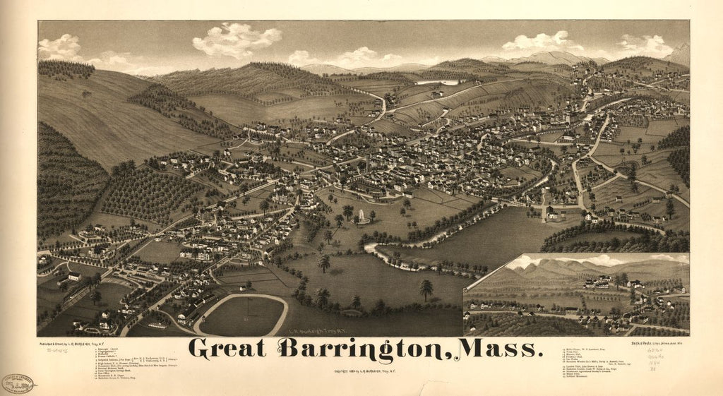 8 x 12 Reproduced Photo of Vintage Old Perspective Birds Eye View Map or Drawing of: Great Barrington, Mass.   Burleigh, L. R. (Lucien R.) - Beck & Pauli - Burleigh, L. R.  1884