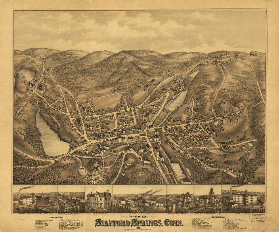8 x 12 Reproduced Photo of Vintage Old Perspective Birds Eye View Map or Drawing of: Stafford Springs, Conn. 1878.  O.H. Bailey & Co.  1878