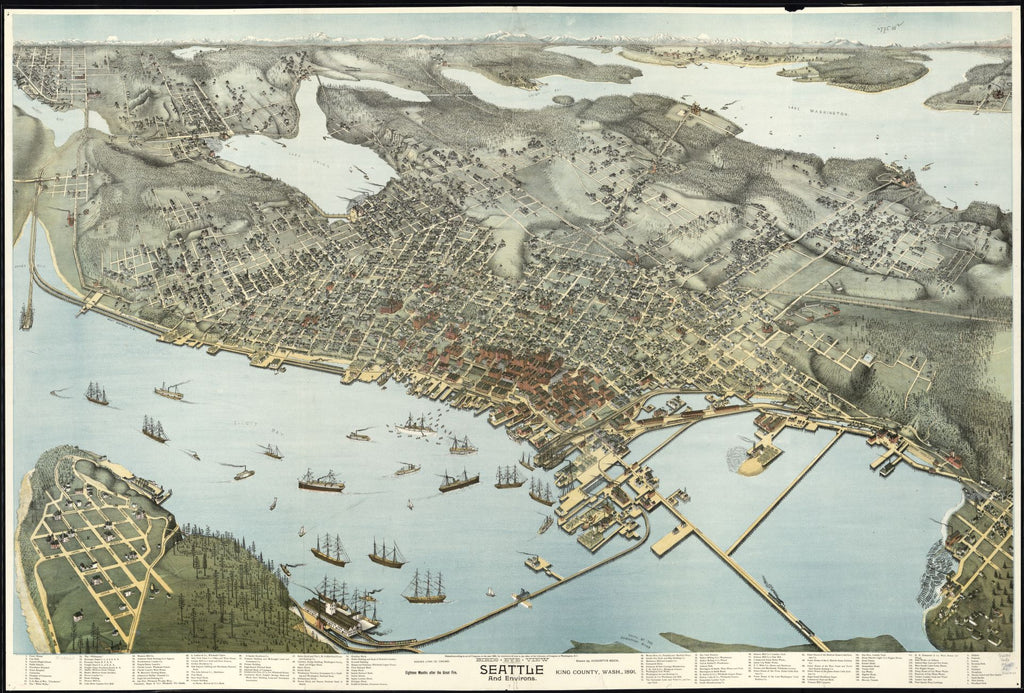 8 x 12 Reproduced Photo of Vintage Old Perspective Birds Eye View Map or Drawing of: Birds-eye-Seattle and environs King County, Wash., 1891. Koch, Augustus, 1840- 1891