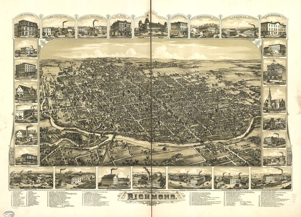 8 x 12 Reproduced Photo of Vintage Old Perspective Birds Eye View Map or Drawing of: Richmond, Indiana 1884. Downs, A. E. (Albert E.) 1884