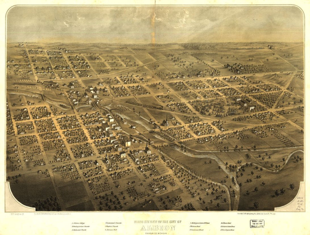 8 x 12 Reproduced Photo of Vintage Old Perspective Birds Eye View Map or Drawing of: Albion, Calhoun Co., Michigan. Ruger, A. 1868?