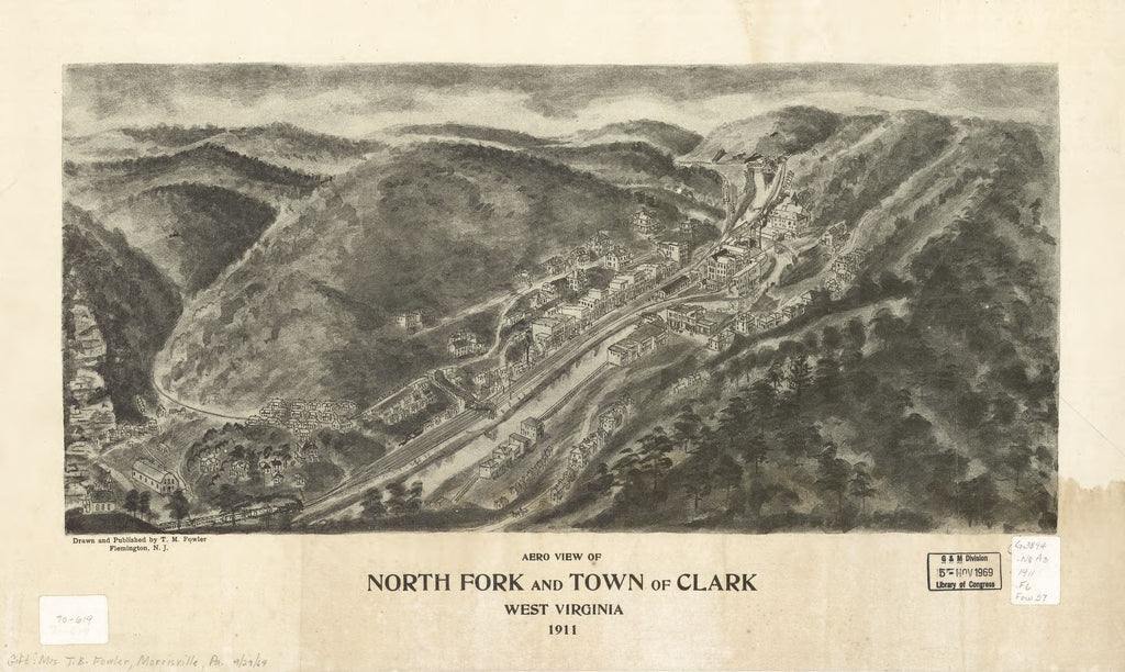 8 x 12 Reproduced Photo of Vintage Old Perspective Birds Eye View Map or Drawing of: North Fork and town of Clark, West Virginia 1911. Fowler, T. M. (Thaddeus Mortimer), 1911