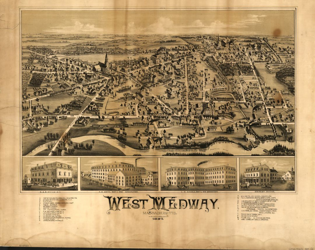 8 x 12 Reproduced Photo of Vintage Old Perspective Birds Eye View Map or Drawing of: West Medway, Massachusetts.   O.H. Bailey & Co.  1887