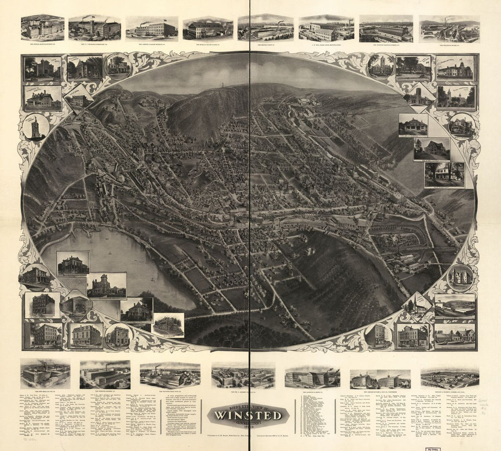 8 x 12 Reproduced Photo of Vintage Old Perspective Birds Eye View Map or Drawing of: Winsted, Connecticut 1908.  Bailey, O. H. (Oakley Hoopes) - Bailey, O. H.  1908