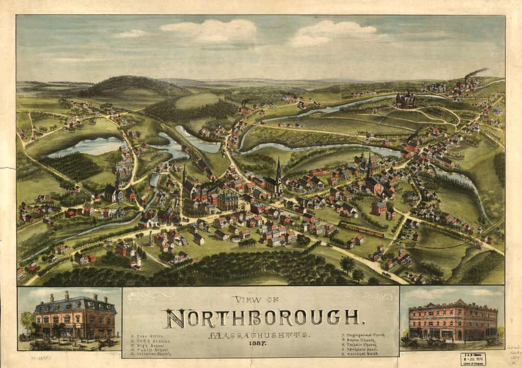 8 x 12 Reproduced Photo of Vintage Old Perspective Birds Eye View Map or Drawing of: Northborough, Massachusetts, 1887.  None 1887