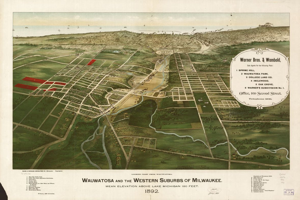 8 x 12 Reproduced Photo of Vintage Old Perspective Birds Eye View Map or Drawing of: Wauwatosa and the western suburbs of Milwaukee 1892. Marr & Richards Engraving Co. 1892