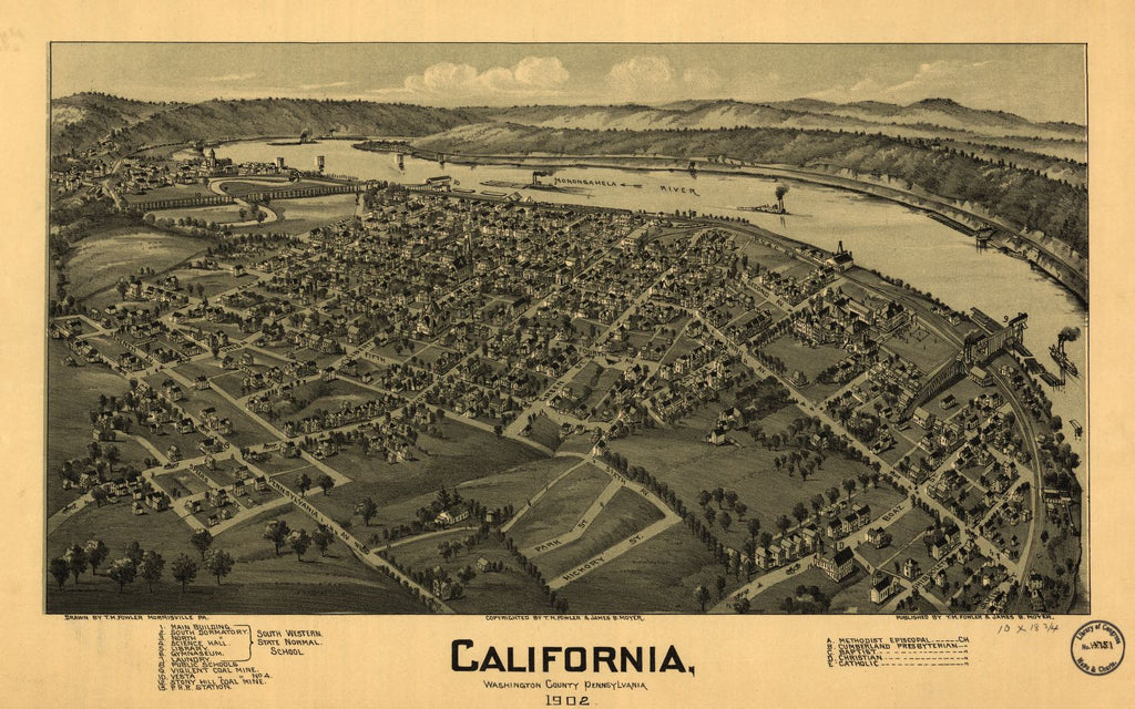 8 x 12 Reproduced Photo of Vintage Old Perspective Birds Eye View Map or Drawing of: California, Washington County, Pennsylvania, 1902 Fowler, T. M. - Moyer, James - Fowler, T. M. 1902