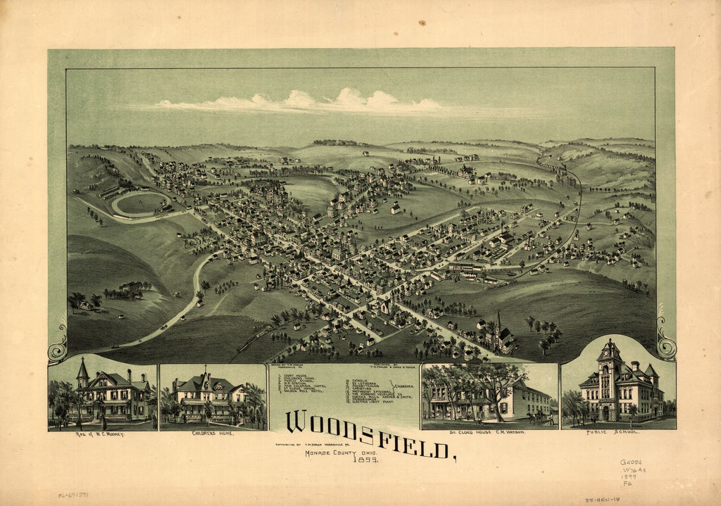 8 x 12 Reproduced Photo of Vintage Old Perspective Birds Eye View Map or Drawing of: Panoramic Youngstown, county seat of Mahoning Co., Ohio Fowler, T. M. (Thaddeus Mortimer), 1899