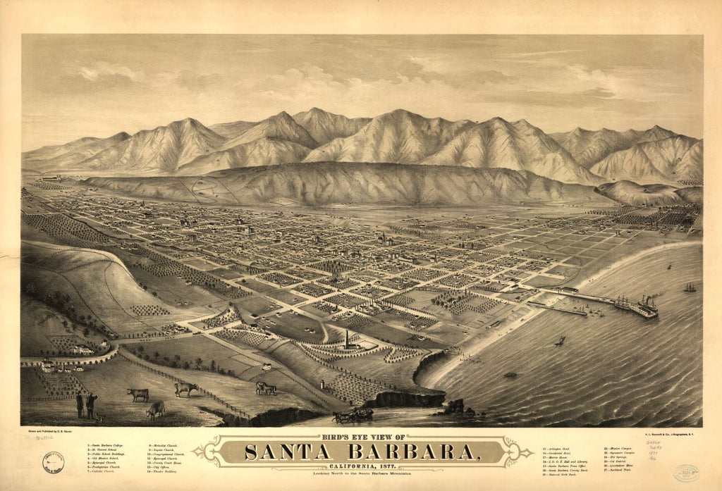8 x 12 Reproduced Photo of Vintage Old Perspective Birds Eye View Map or Drawing of: Santa Barbara, California, 1877. Looking north to the Santa Barbara Mountains. Glover, E. S. (Eli Sheldon), 1844-1920. 1877