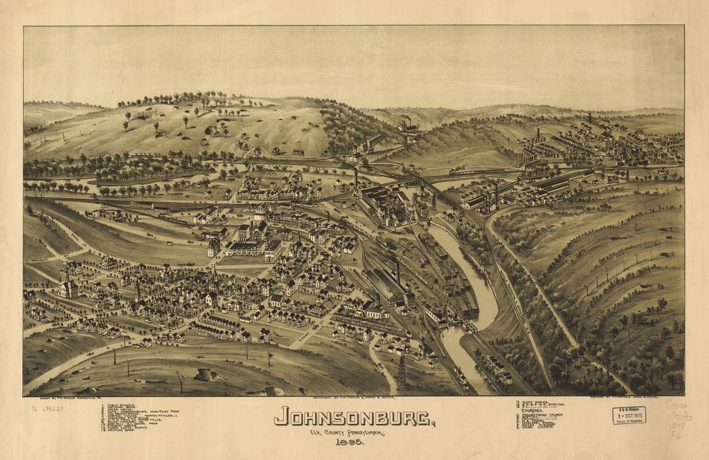 8 x 12 Reproduced Photo of Vintage Old Perspective Birds Eye View Map or Drawing of: Johnsonburg, Elk County, Pennsylvania. Fowler, T. M. - Moyer, James - Fowler, T. M. 1895