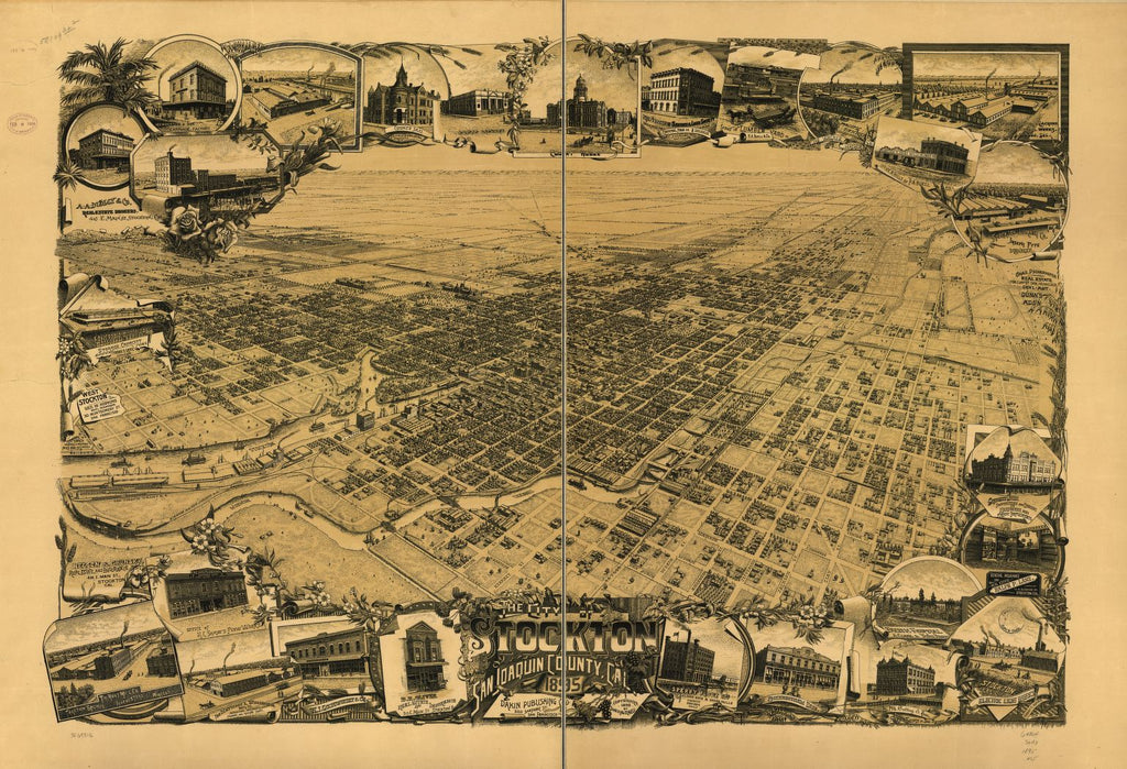 8 x 12 Reproduced Photo of Vintage Old Perspective Birds Eye View Map or Drawing of: Stockton, San Joaquin County, Cal. 1895. Mitchell, John H. c1895