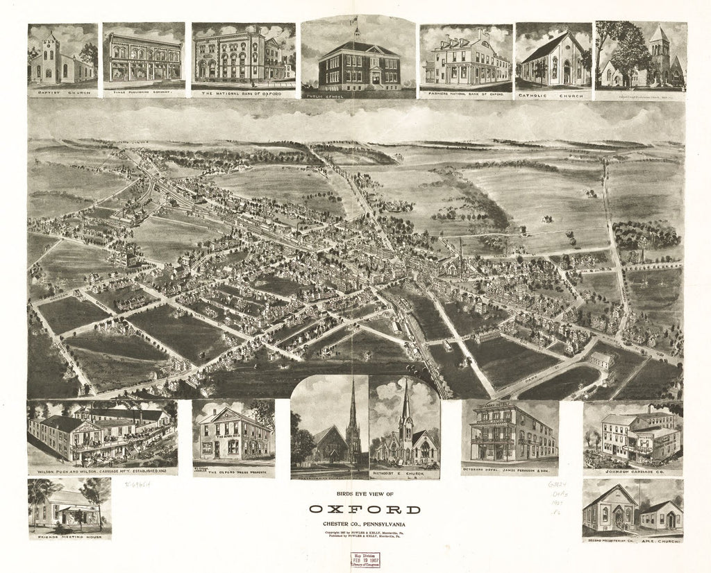 8 x 12 Reproduced Photo of Vintage Old Perspective Birds Eye View Map or Drawing of: Oxford, Chester Co., Pennsylvania. Fowler & Kelly 1907