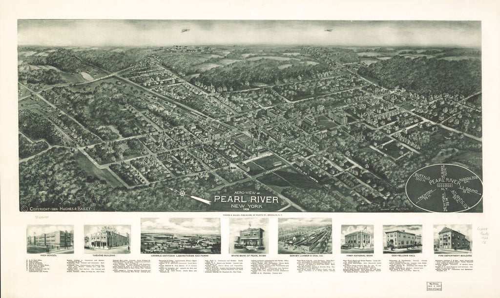 8 x 12 Reproduced Photo of Vintage Old Perspective Birds Eye View Map or Drawing of: Pearl River, New York, 1924. Cinquin, Rene - Hughes & Bailey 1924