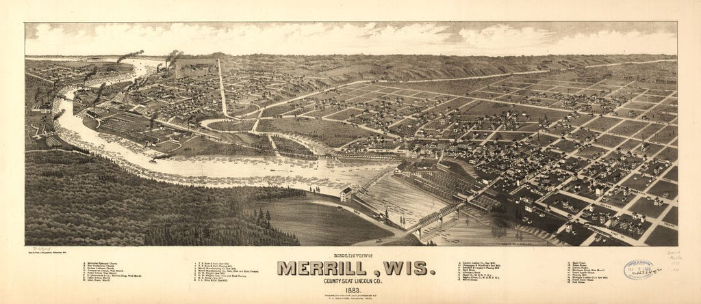 8 x 12 Reproduced Photo of Vintage Old Perspective Birds Eye View Map or Drawing of: Merrill, Wis. county seat Lincoln Co. 1883. Wellge, H. (Henry) 1883