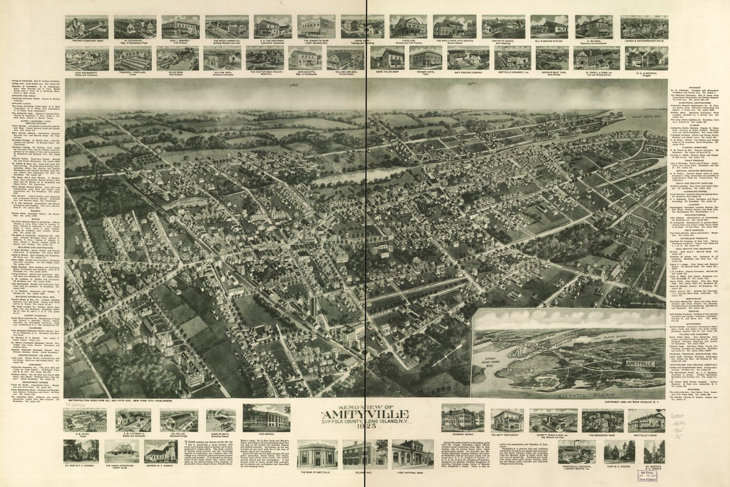 8 x 12 Reproduced Photo of Vintage Old Perspective Birds Eye View Map or Drawing of: Amityville, Suffolk County, Long Island, N.Y. 1925.  Cinquin, Rene - Metropolitan Aero-View Co 1925