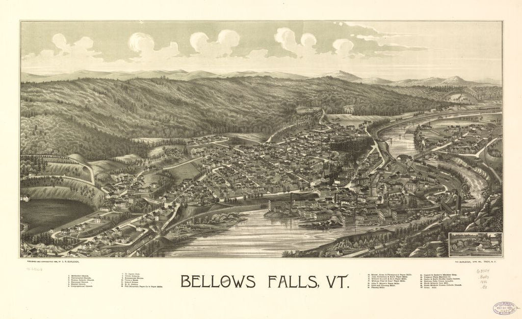 8 x 12 Reproduced Photo of Vintage Old Perspective Birds Eye View Map or Drawing of: Bellows Falls, Vt.  Burleigh, L. R. (Lucien R.) - Burleigh Litho - Burleigh, L. R.  1886