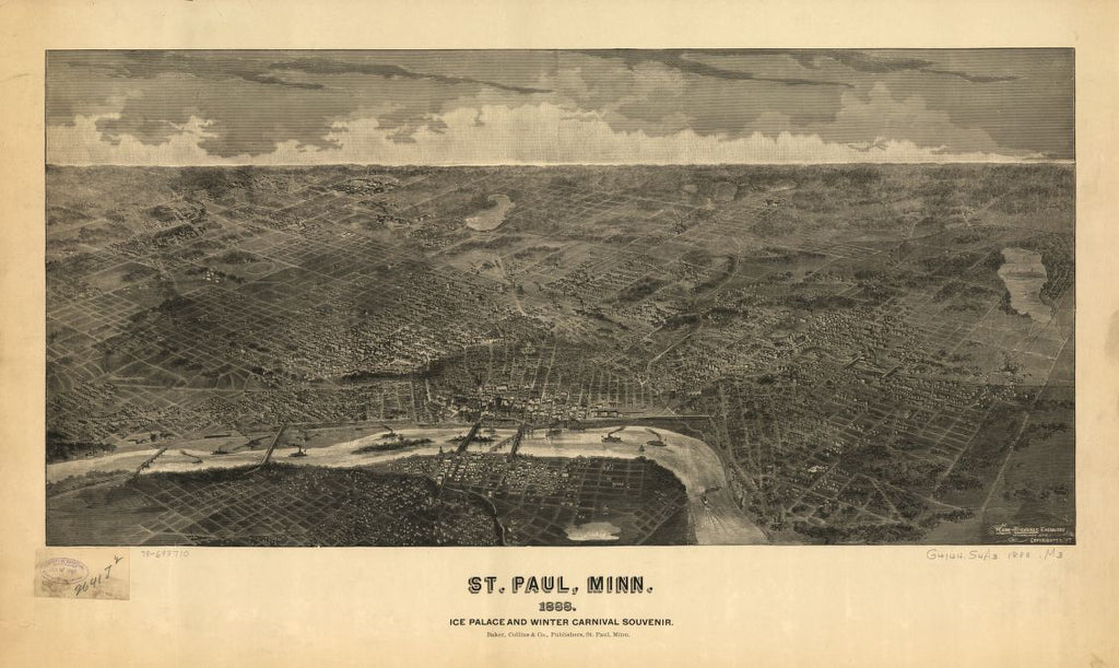 8 x 12 Reproduced Photo of Vintage Old Perspective Birds Eye View Map or Drawing of: St. Paul, Minn. : ice palace and winter carnival souvenir Marr & Richards Engraving Co. c1887