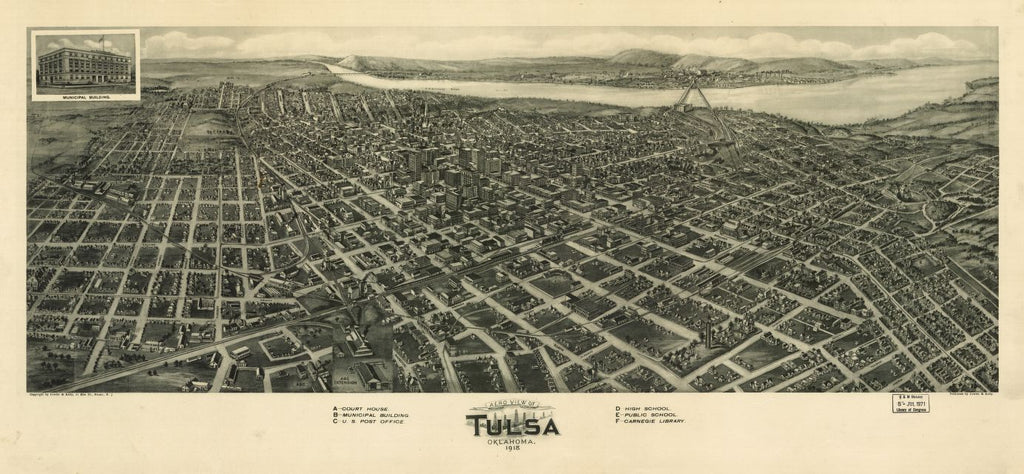 8 x 12 Reproduced Photo of Vintage Old Perspective Birds Eye View Map or Drawing of: Tulsa, Oklahoma 1918. Fowler & Kelly. 1918