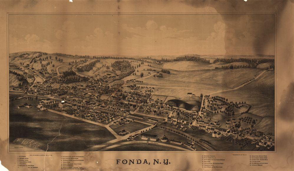 8 x 12 Reproduced Photo of Vintage Old Perspective Birds Eye View Map or Drawing of: Fonda, N.Y. Burleigh, L. R. (Lucien R.) - Burleigh Litho - Burleigh, L. R. 1889