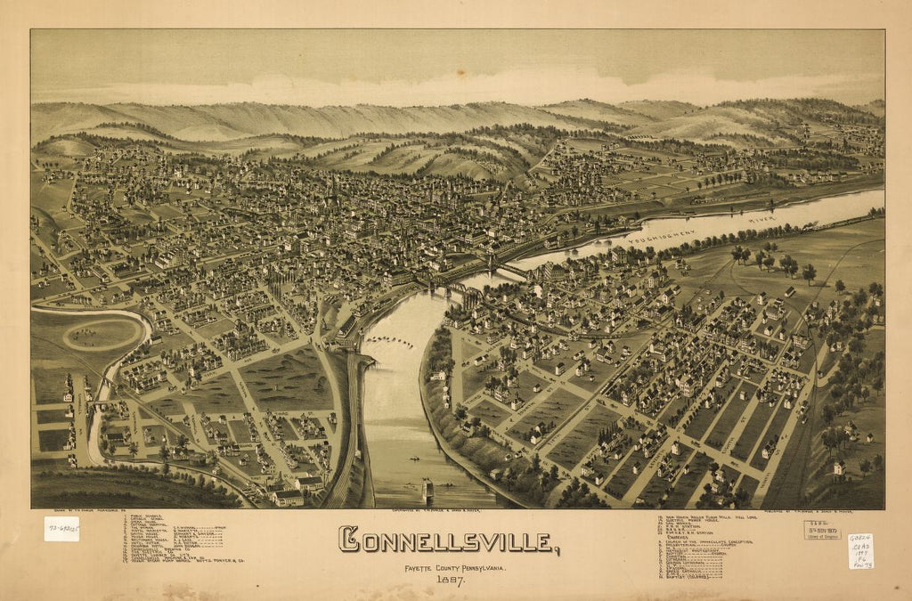 8 x 12 Reproduced Photo of Vintage Old Perspective Birds Eye View Map or Drawing of: Connellsville, Fayette County, Pennsylvania 1897 Fowler, T. M. - Moyer, James - Fowler, T. M. 1897
